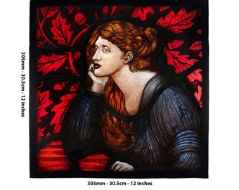 Reserved - A Version Can be Made based on your portrait - Stained Glass window, Ruby Portrait, Pre-Raphaelite Style, Leaded, hand painted