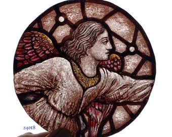 Stained Glass Roundel, Hand Painted Angel, in the style of Gothic Revival of 19th Century, Kiln fired, RM= Judy3
