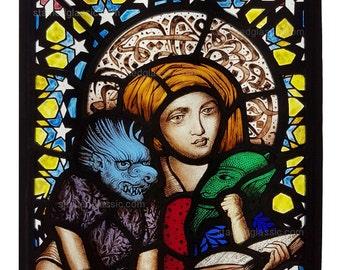 Stained Glass window, Dorigen, The Legend of Good Women, Leaded, Panel, 266x310mm (10.5x12.25inch)