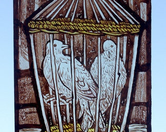 Stained Glass Window Birds, kiln fired, hand painted, Doves in a Basket, Cage, new piece, Ref: Doves in a Basket version 3 - RMJudy2