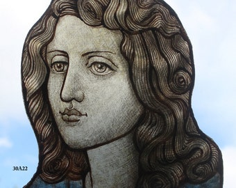 Stained Glass Window Portrait, kiln fired hand painted, Face, new fragment, RMJudy49