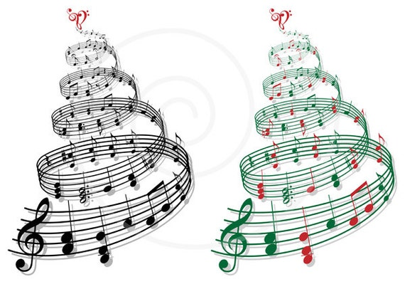 Christmas Tree With Music Notes Printable Christmas Card Music Tree Digital Clip Art Png Vector Eps Svg Files Instant Download