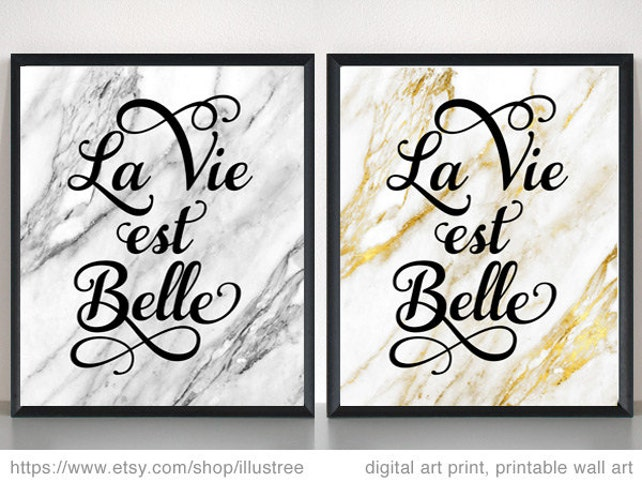 La vie est belle life is beautiful French quote digital art | Etsy