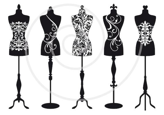vintage mannequin digital clip art tailor s dummy clipart dress rh etsystudio com free dress form clip art Dress Form Mannequin