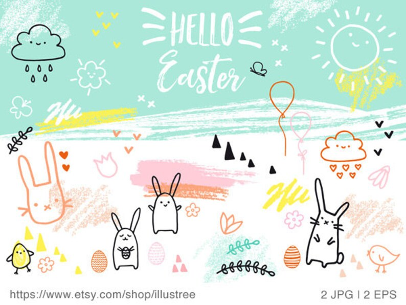 image about Printable Easter Card referred to as Hand drawn Easter card, printable Easter card, bunny, Easter egg, lovable, doodle, spring, printable card, 5x7, JPG, EPS, prompt obtain