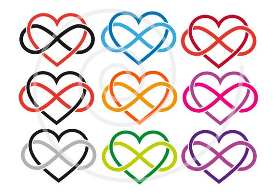 15 Hearts Clip Art With Infinity Sign Never Ending Love Love Etsy