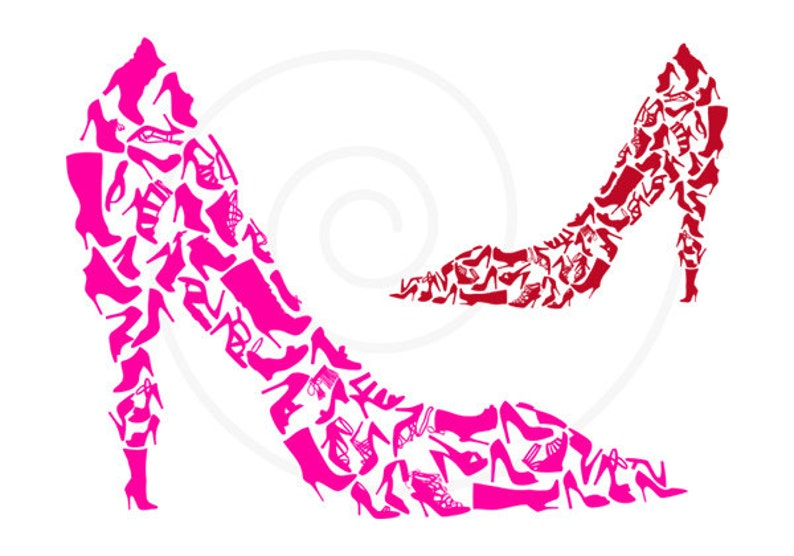 Shoe Clipart Shoe Silhouettes Digital Clip Art High Heels Etsy