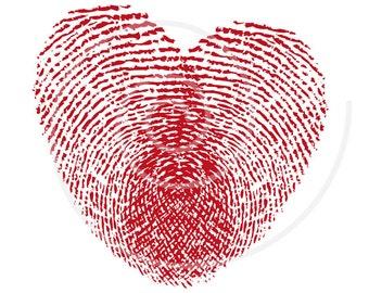 Fingerprint heart, wedding invitation, wedding anniversary, printable card, art print, digital clip art, vector, EPS, instant download