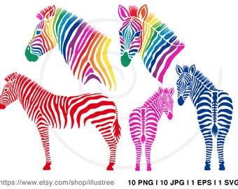 Zebra silhouettes digital clip art, colorful zebra clipart set, zebra art print, printable wall art, 8x10 print, EPS, SVG, instant download