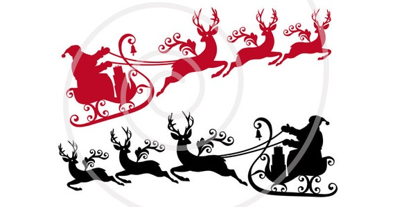 santa claus with reindeer and his sleigh printable christmas etsy