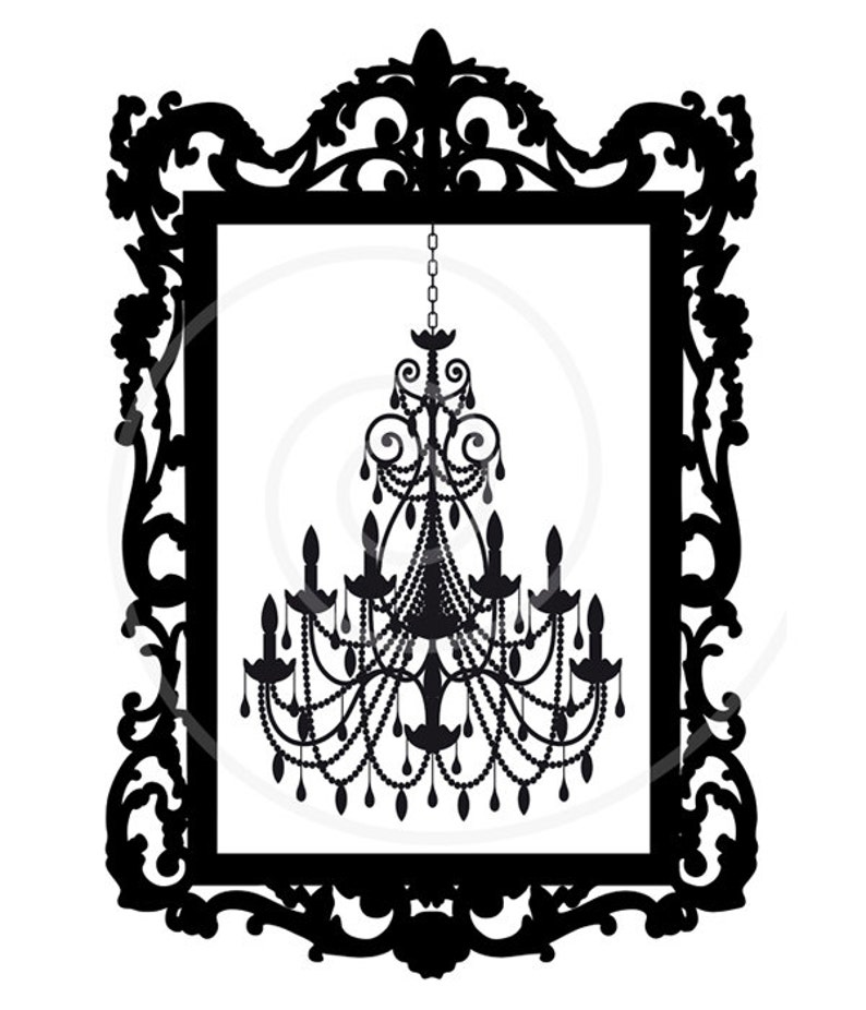 Vintage Chandelier In Antique Picture Frame Digital Clip Art