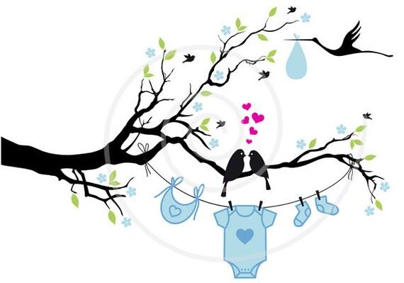 New Baby Digital Clip Art Baby Boy Baby Girl Cute Birds On Etsy