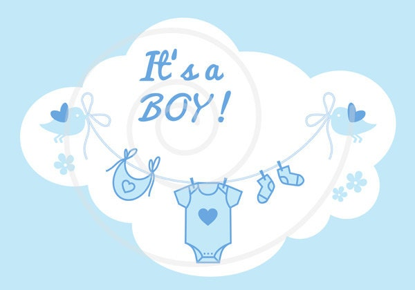 New Baby Clip Art Its A Girl Its A Boy Blue And Etsy