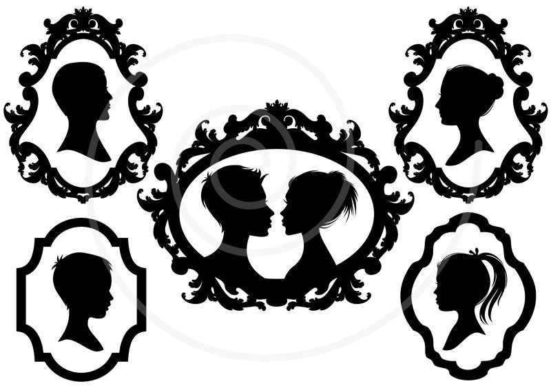 Family Faces Portrait Silhouettes In Vintage Picture Frame