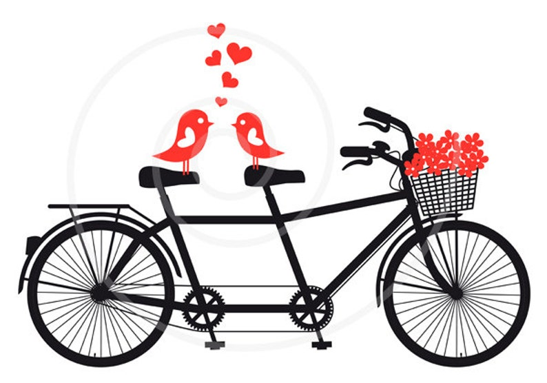 Clip Art Wedding.Love Birds On Bicycle Digital Clip Art Wedding Invitation Anniversary Gift For Couples Tandem Bicycle Vector Png Eps Svg Download