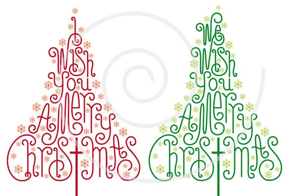 Christmas trees with hand drawn letters christmas card xmas etsy image 0 m4hsunfo