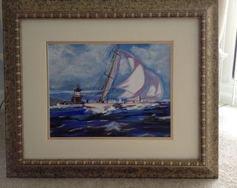 Rough Sailing - Acrylic painting on canvas - 21 x 24 gold frame