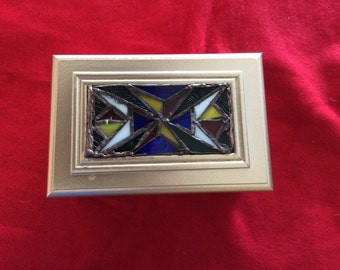 Solid Wood Hinged Box with Stained Glass Insert on Lid