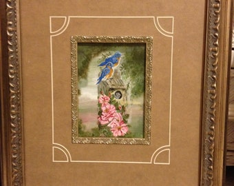 Bluebirds Nesting - 6 x 8 acrylic canvas, 16 x 20 Gold Frame, Brown matte