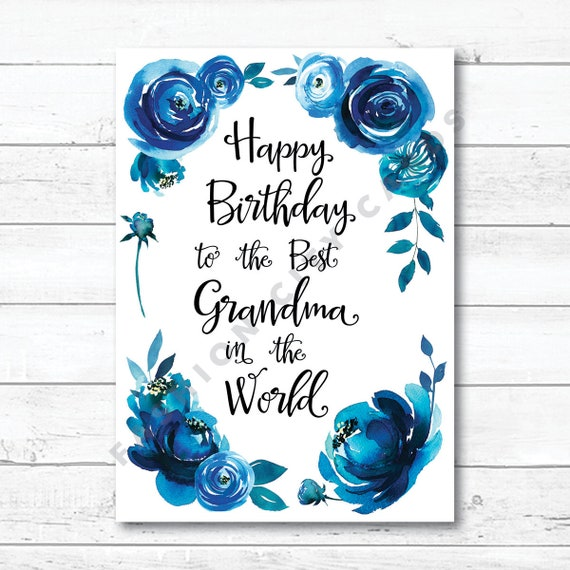 afdrukbare happy birthday card voor oma blue aquarel