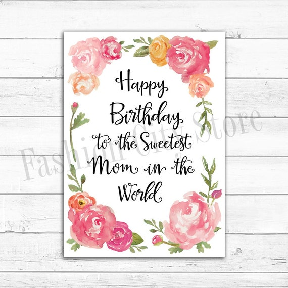 Printable Happy Birthday Card For Mom Watercolor Peonies Etsy