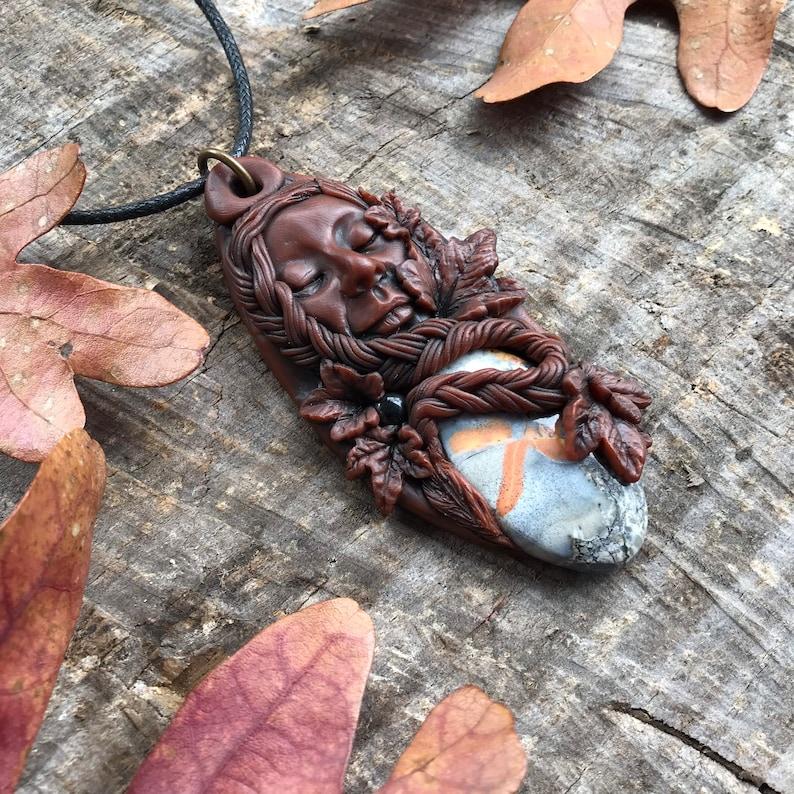 Fall Goddess Pendant with Maligano Jasper