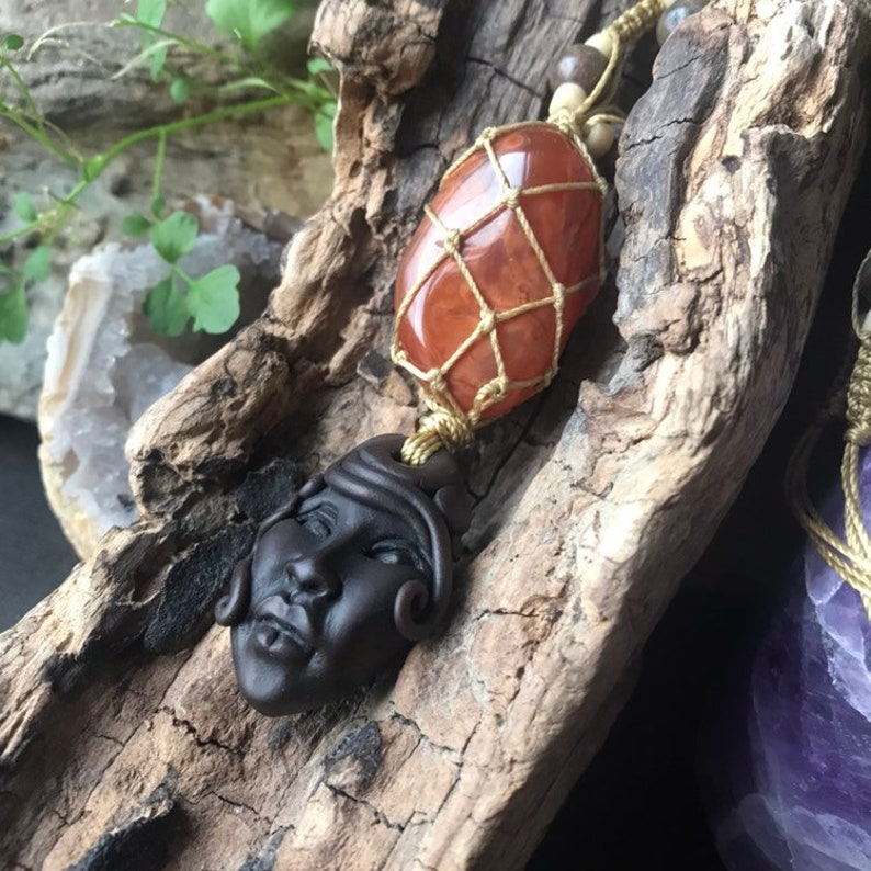 Macrame Carnelian and Clay Goddess Talisman for Creativity
