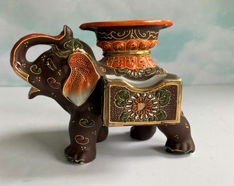 Vintage Japan Lusterware Glazed Ceramic Elephant Figurine Trunk Up and Trimmed in Gold With Pink Ears ~ for Good Luck~ 7 14