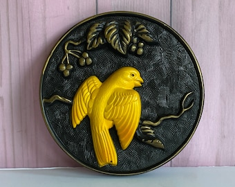 Vtg Chalkware Miller Studio 1968 Bird Wall Plaque, Black and Gold Wall Plaque with Bright Yellow Bird, Round Chalk Ware Bird Picture