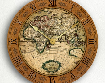 World map clock etsy world map gerard van schagen 17th century vintage style 12 silent wall clock gumiabroncs Image collections