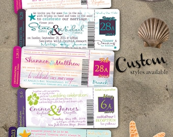 Destination Plane Ticket Wedding Invitation - FULL SET