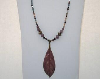 Purple Leaf Pendant Necklace
