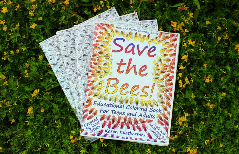 Save the Bees Educational Coloring Book on 100% Recycled image 0