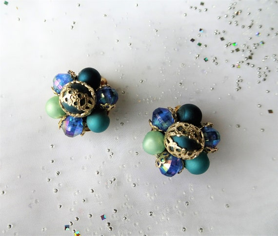 Beaded Cluster Earrings Lustrous Bronze Tone Vintage Clip On Tiny Seed Bead Silver Knotted Twisted