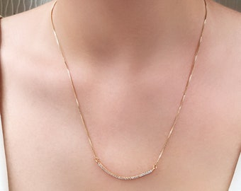 Rose Gold Curved Bar Necklace, Cubic Zirconia Pendant Necklace, Delicate Bar Necklace, Layering Necklace, Gift for Her, N541-RG