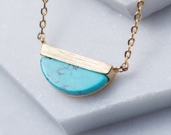 Turquoise Necklace, 14k Gold Necklace, Half Moon Pendant Necklace, Dainty Gold Pendant Necklace, Minimal Necklace, Gift for Her, N348-TQ