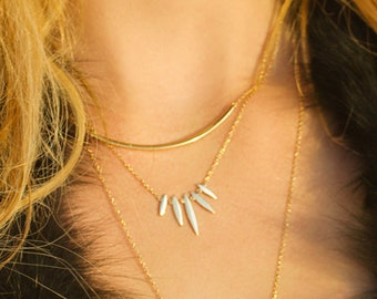 14K Gold Pendant Necklace, Layered Necklace, Layering Necklace, Gold Dainty Necklace, Minimal Necklace Gift for her Bohemian jewelry, N291-G