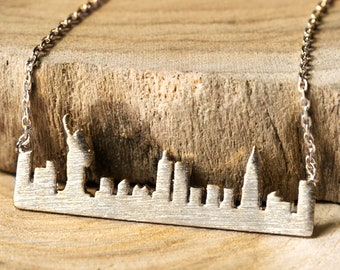 Sterling Silver New York City Skyline Necklace, Skyline Bar Necklace, NYC Necklace, Manhatten Skyline, Gift For Her Pendant Necklace N333K-S