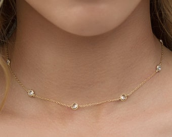 Dainty Choker Necklace Gold Choker Crystal Gold Choker Delicate Choker, Layering Gold Necklace Tiny Crystal Necklace Bohemian Jewelry N062-G