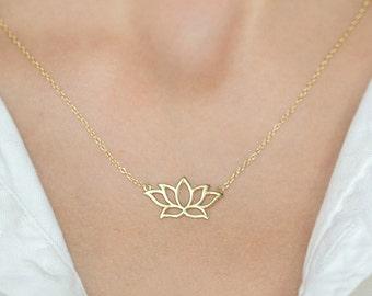14K Gold Lotus Necklace Pendant, Dainty Lotus Necklace, Flower Necklace, Floral Necklace, Lotus Charm Necklace, Friendship Necklace, N277-G