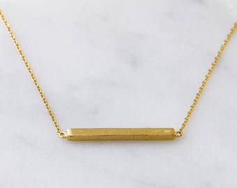 Bar Necklace gold, Delicate 14K Gold Necklace, Layering Necklace, Horizontal Gold Necklace, Statement Necklace, Minimalist Necklace, N384-G