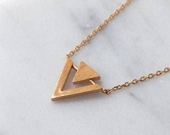 Rose Gold Triangle Necklace Pendant Necklace Geometric Jewelry Dainty Necklace Double Triangle Necklace Small Layering Necklace N389-RG