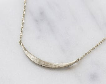 Sterling Silver Curved Bar Necklace, Delicate Bar Necklaces, Layering Necklace, Geometric Necklace, Silver Chain, Gift for Her,N386-S