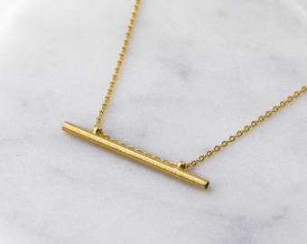 14K Gold Bar Necklace, Dainty Necklace, Gift For Her, Layering Necklace, Geometric Necklace, Miniml Necklace, Gift for Her, N385-G