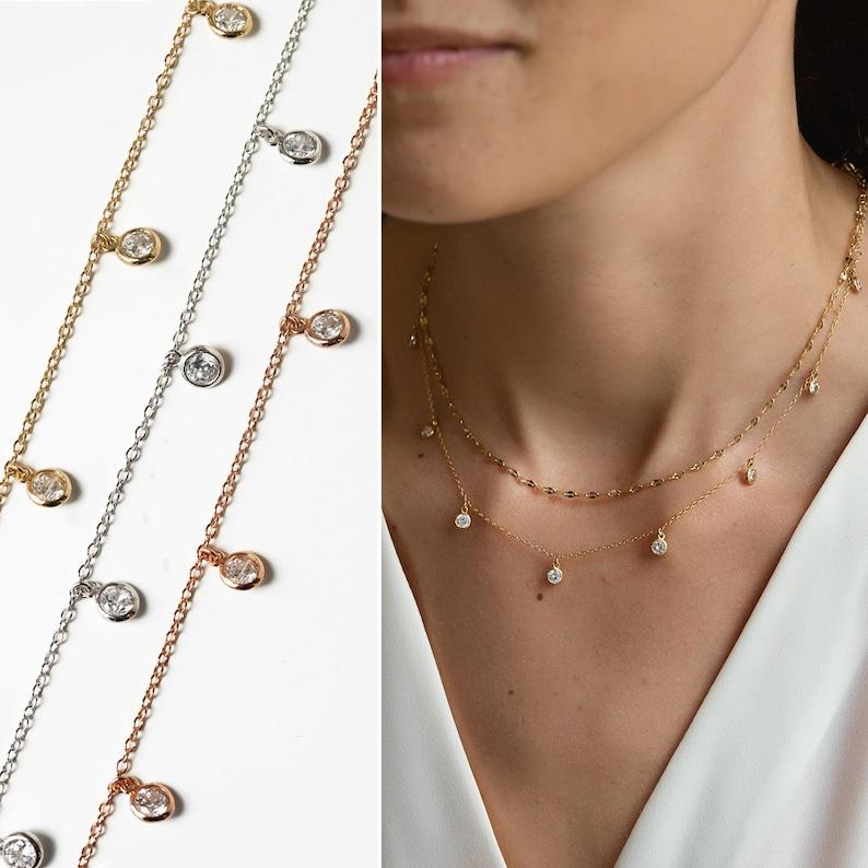 Gold Choker Necklace Dainty Choker Crystal Necklace Choker Necklace N354