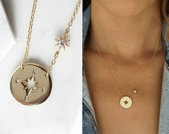 Gold Pendant Necklace, Compass Necklace, Dainty Necklace, Gold Necklace,  N390