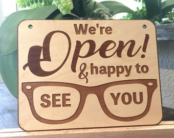 Unique business open & closed sign, Optometry Office Decor, Business Sign Open/Closed wood, Optical Welcome, Glasses design Optometry sign