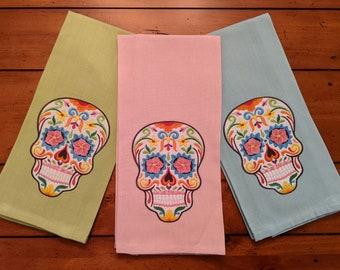 Sugar Skull Kitchen Towel  (Each Sold Individually), Embroidered Kitchen Towel, Decorative Kitchen Towel