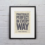 Practically Perfect In Every Way - Mary Poppins -  Inspirational Quote Dictionary Page Print - DPQU062
