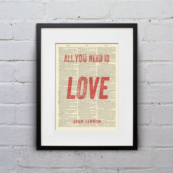 All You Need Is Love John Lennon Inspirational Quote Etsy